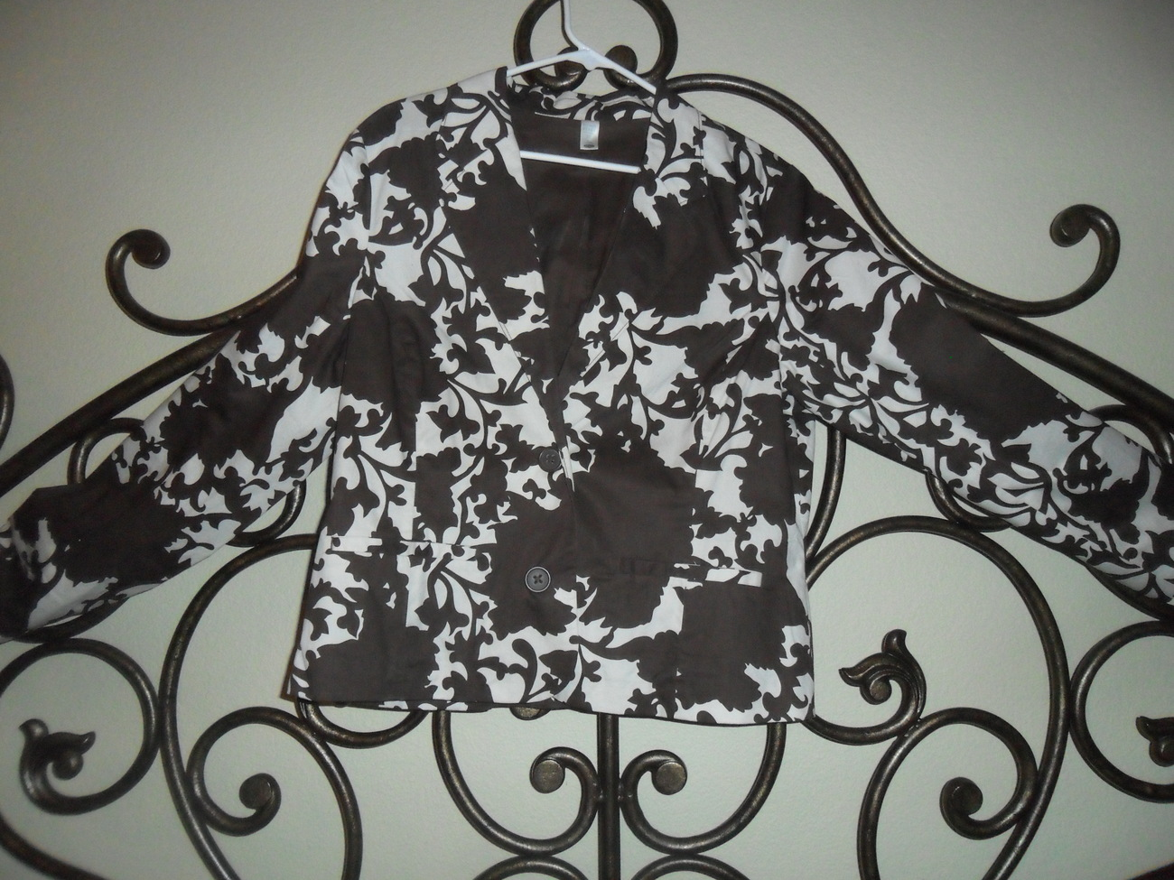 Old Navy Dark Brown and White Cotton Blazer Jacket