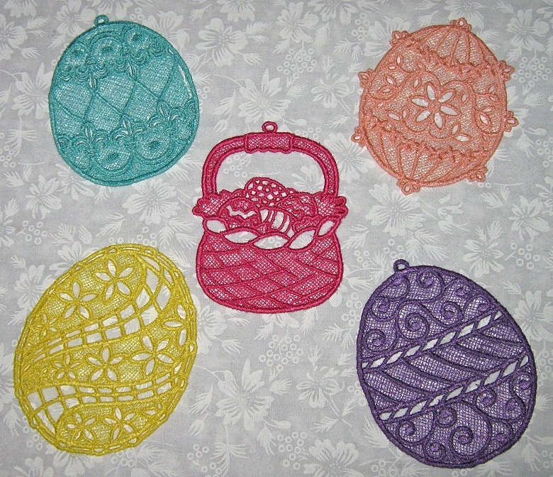 5 Embroidered Lace Easter Eggs and Basket