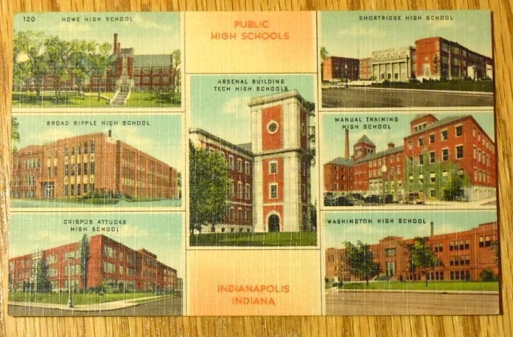 Primary image for c1940s - Public High Schools in Indianapolis IN - Unused Postcard