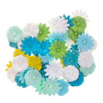 Darice Daisy Floral Embellishment: White/Blue/Yellow, 0.75in, 48 pieces w - $6.99