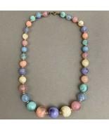 Acrylic Lucite Pastel Beaded Necklace Vintage Plastic Graduated Multicol... - $14.22