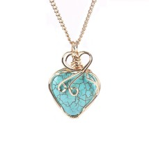 18K Gold Silver Chain Turquoise Heart Pendant Necklace (gold-plated-coppe - $37.68
