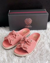 New VINCE CAMUTO Jazzan Bow Tie Slide Sandals Suede Pink Women's Size 8M... - $36.00