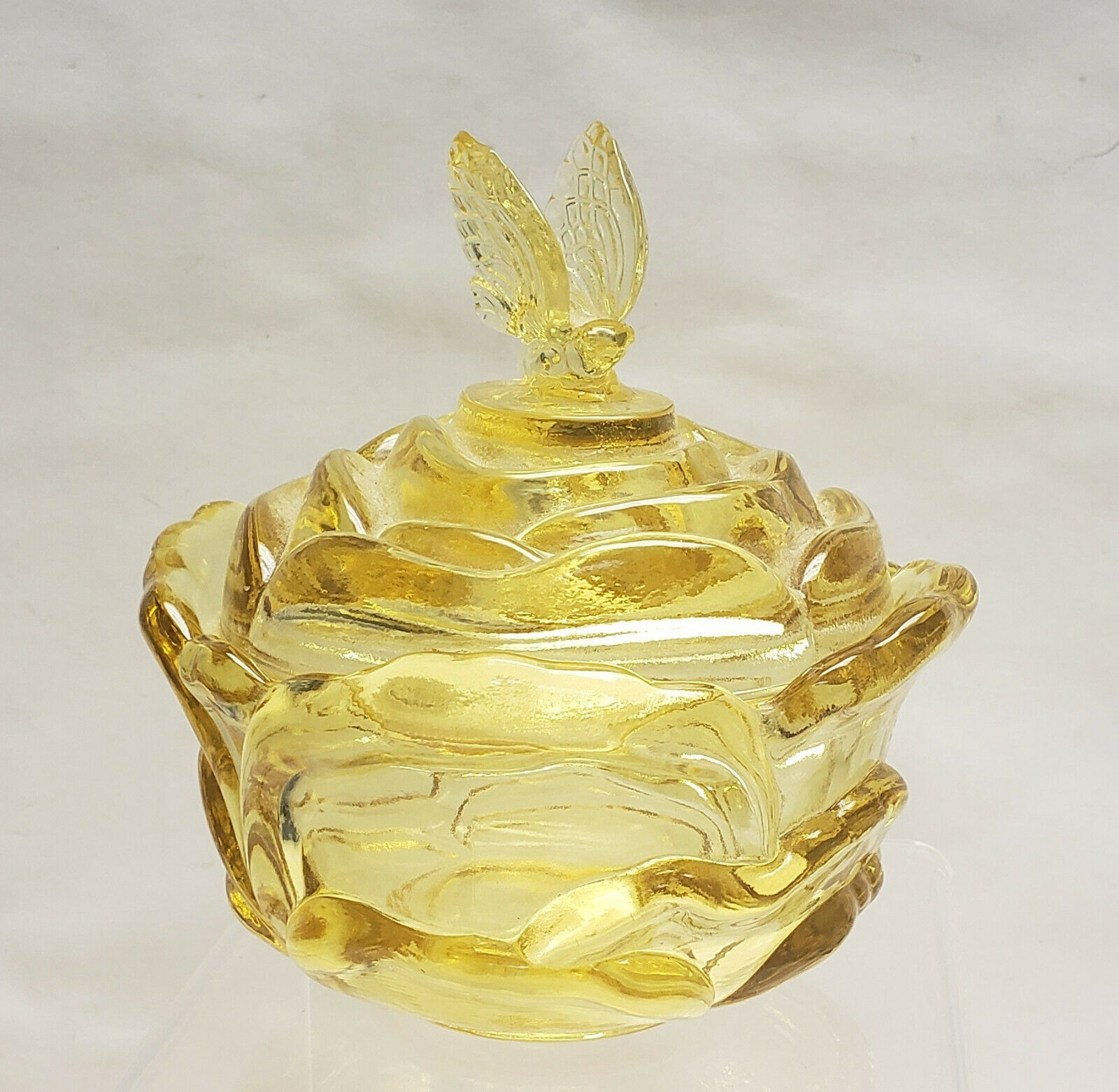 Primary image for FENTON Crystal - TOPAZ YELLOW - Butterfly Finial CANDY BOX/JAR
