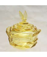 FENTON Crystal - TOPAZ YELLOW - Butterfly Finial CANDY BOX/JAR - $64.95