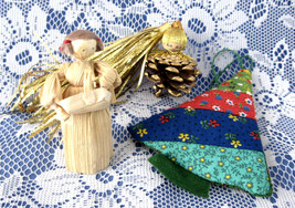 Christmas Ornament Ornaments 3 Hand Made 1970s Quilted Tree Cornhusk Girl Pineco - $18.00