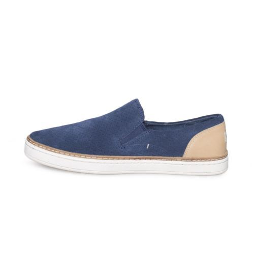 UGG ADLEY PERF NAVY SUEDE LEATHER SLIP ON SNEAKER WOMENS SHOES SIZE US 8 NEW