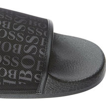 Hugo Boss Men's Slip On Graphic Solar Logo 2 Slider Sandals 50401863 Black image 9