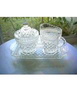 Anchor Hocking Wexford Pattern Vintage Cream & Lidded Sugar & Tray c 1950 - $11.88