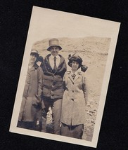 Old Antique Vintage Photograph Man With Two Women Great Outfits Crazy Hats - $6.93