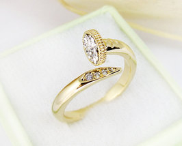 Women's Yellow Gold Plated Nail Ring Jewelry Crystal Wrap Ring Size Adju... - $12.70