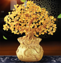 Feng Shui Crystal Wealth Lucky Money Tree Best Gift & Home Good Luck Decoration image 3