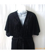 Long black short-sleeve belted robe and thin strap nightgown in size medium - $15.00