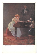 Ein Altes Lied An Old Song Woman Weeping on Piano Setkowicz Painting Pos... - $7.99