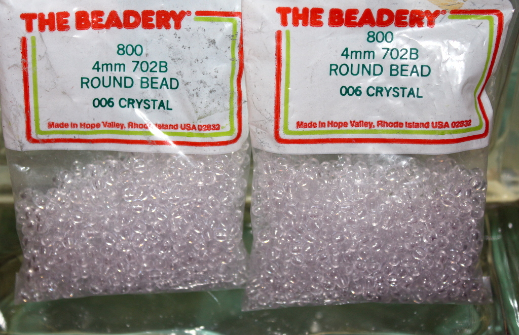 4mm ROUND BEADS THE BEADERY PLASTIC CRYSTAL 2 PACKAGES 1,600 COUNT