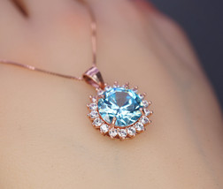 Aquamarine Necklace - 10mm Rose Gold Coated Sterling Silver Solitaire Br... - $74.00