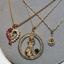 3 PC Lot Gold Vermeil Sterling Silver Diamond Poodle Pendant Necklaces Danecraft - $36.61