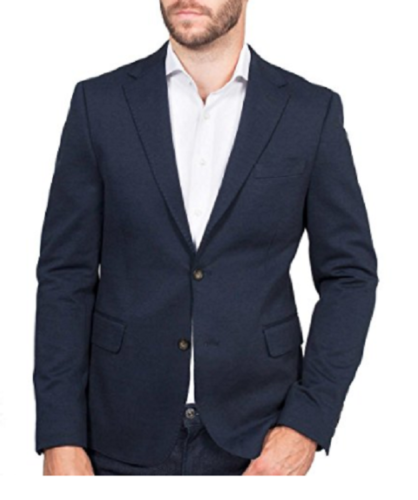 Ike Behar Men's Stretch Knit Classic Two Button Blazer Sport Jacket, Navy, S: 44