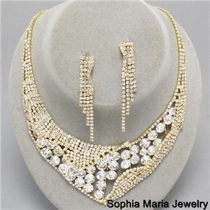 Mother of the bride elegant clear crystal evening formal necklace earring set image 2
