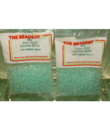 4mm ROUND BEADS THE BEADERY PLASTIC GREEN AQUA 2 PACKAGES 1,600 COUNT - $3.99