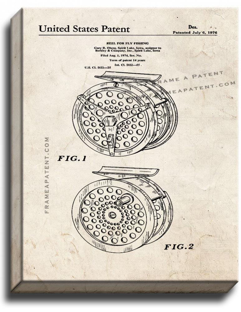 Primary image for Reel For Fly Fishing Patent Print Old Look on Canvas