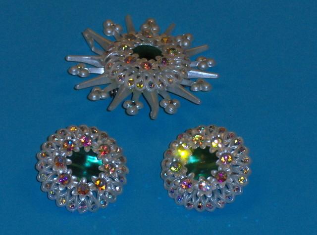Vintage Clip On AB Earrings and Brooch Set Rhinestones