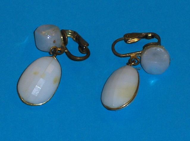 Vintage Clip On White Earrings