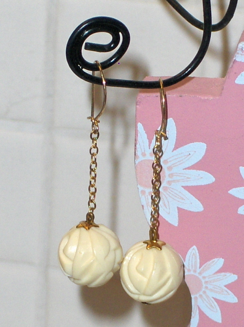 Hand Carved Celluloid Bakelite ?  Earrings