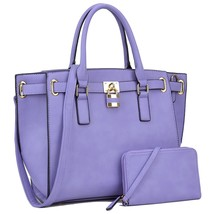 Belted Padlock Women Handbags Large Tote Bags Structured Work Bags Shoul... - $56.99