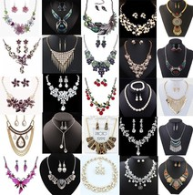 Fashion Jewelry Women Bib Choker Chain Pendant Statement Necklace Set Ea... - $9.40