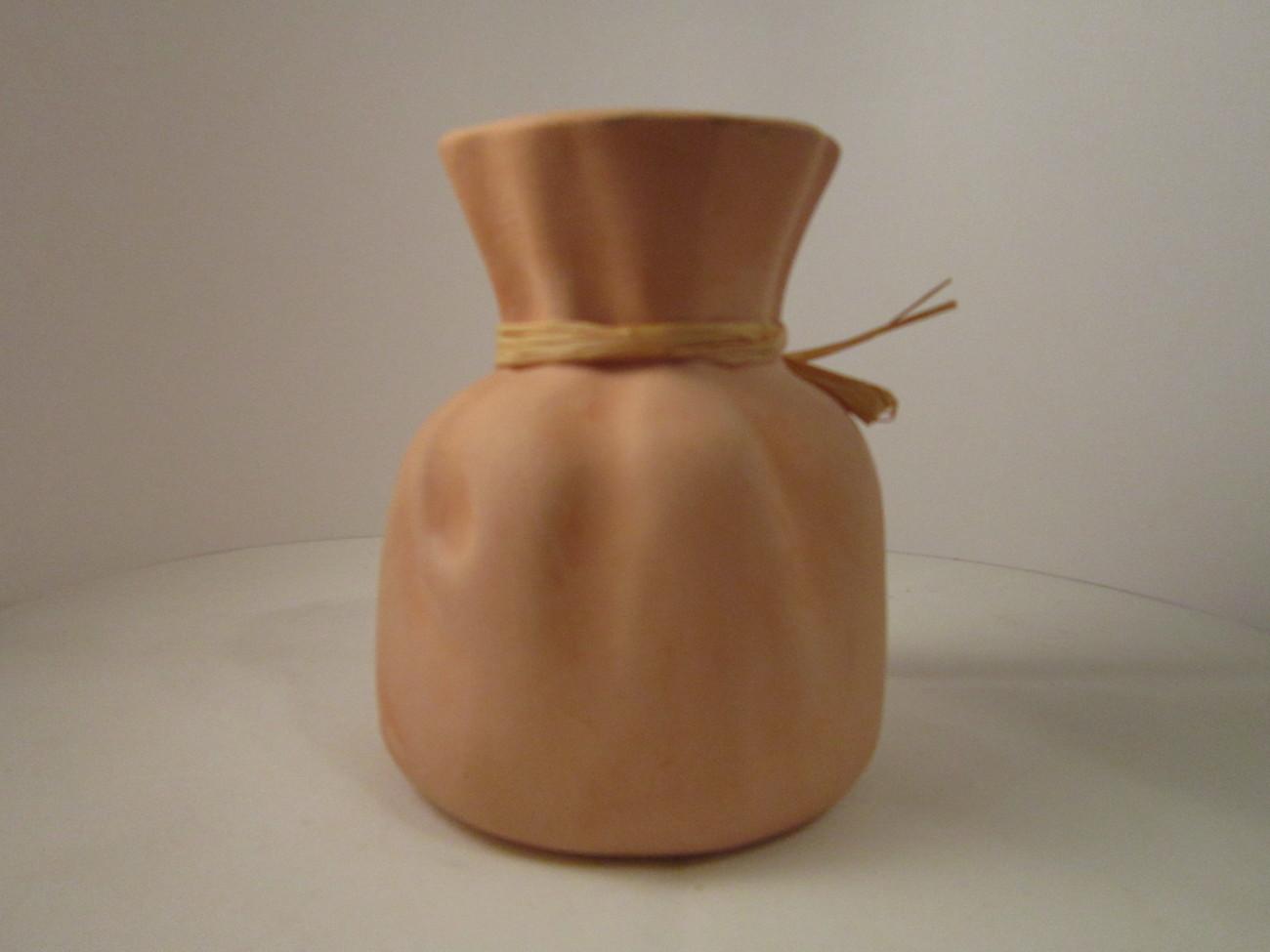 Small Sack Vase Country Kitchen Terra Cotta Pottery, Glazed inside