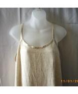 Long cream crinkly rayon sleeveless dress - $11.25