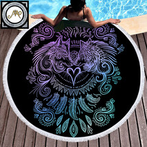 Wolves Heart by SunimaArt Round Beach Towel Woman Wolf Printed Microfibe... - $36.90