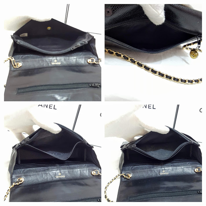 Auth Chanel Timeless Black Caviar Leather Gold Chain Wallet WOC Crossbody Bag image 12