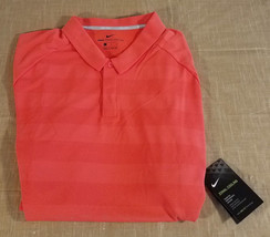 Nike Golf Zonal Cooling Striped Polo Shirt Mens XL Rush Coral Orange AH8... - $45.80
