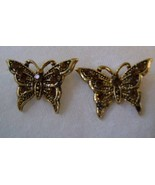 Earrings, Posts, Gold Tone Butterflies with Brown Rhinestones  - $15.00