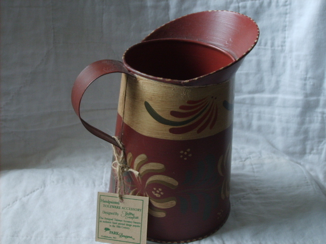 "Primary image for 8"" HANDPAINTED TOLEWARE PITCHER by KATHY GRAYBILL NWT"