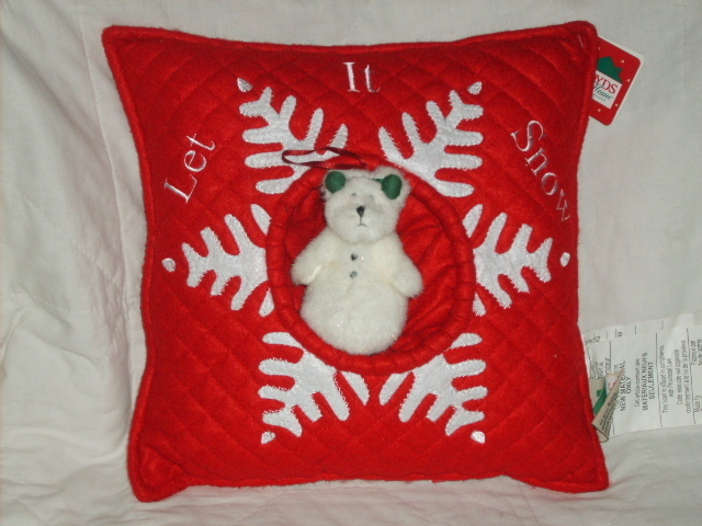 "BOYDS HOME ""LET IT SNOW"" PILLOW SNOWMAN ORNAMENT NWT"