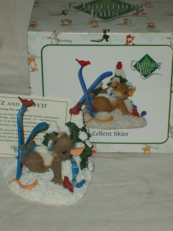 "Primary image for CHARMING TAILS ""X-CELLENT SKIER"" MOUSE FIGURINE NIB $25"