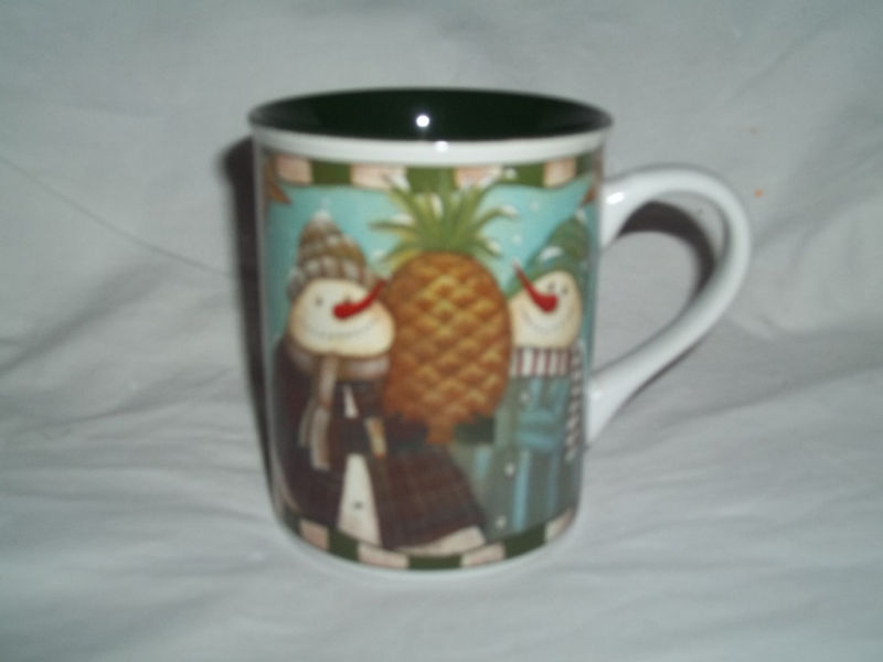 Primary image for DAVID HARDEN SNOWMAN w/PINEAPPLE PORCELAIN MUG NEW MINT