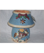 DEBBIE MUMM FLYING SNOWMAN POTTERY JAR CANDLE HOLDER NWT MINT - $22.98