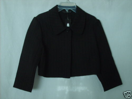 EXPRESS WOMENS Misses size10 SHORT BLACK COTTON JACKET 3/4 Sleeve NWT