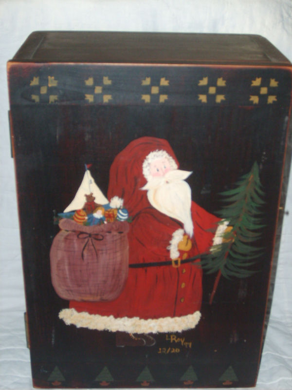 HANDCRAFTED WOODEN BOX CUPBOARD HAND PAINTED OLD WORLD SANTA SIGNED & DATED NEW