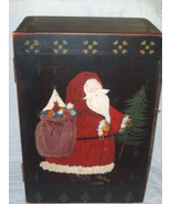 HANDCRAFTED WOODEN BOX CUPBOARD HAND PAINTED OLD WORLD SANTA SIGNED & DA... - $96.27