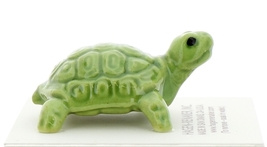 Hagen-Renaker Miniature Ceramic Turtle Figurine Coin Turtle Three Stripe Green image 1