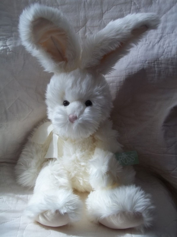 "Primary image for RUSS BERRIE 14"" OFF-WHITE PLUSH BUNNY RABBIT ROAKER NWT MSRP $25"
