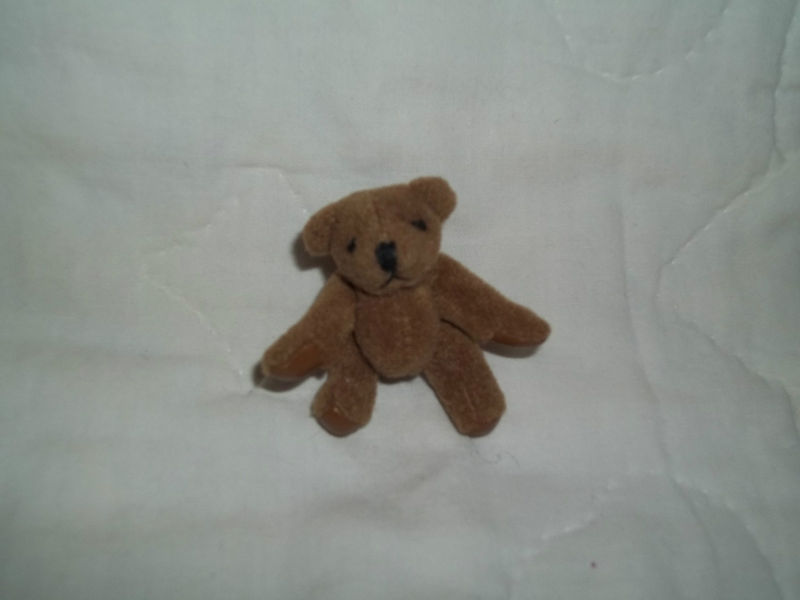 "RUSS BERRIE 2-1/2"" MINI BROWN PLUSH BEAR MOVEABLE LIMBS NEW MINT RETIRED"