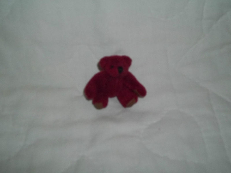 "Primary image for RUSS BERRIE 2-1/2"" MINI BURGUNDY PLUSH BEAR MOVEABLE LIMBS NEW MINT RETIRED"