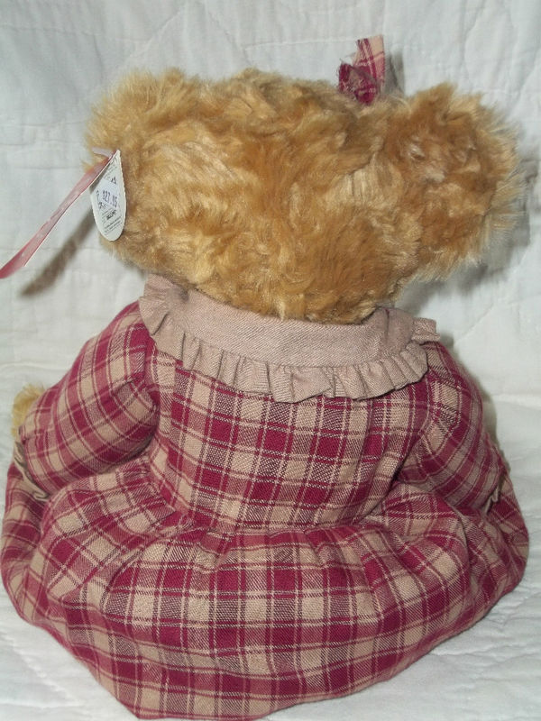 RUSS BERRIE BEARS FROM THE PAST #100262 FLORA GOLD FUR PLAID DRESS NWT RET $36