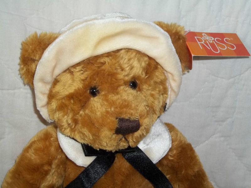 "RUSS BERRIE PLUSH 13"" GOLD THANKSGIVING BEAR MAYFLOWER RET NWT MINT MSRP $25"